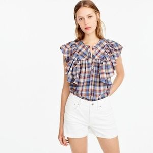 J. Crew Ruffle Cotton Top in Vintage Plaid.